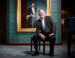 Frank Villella in front of Franz Breitkopf's portrait of Theodore Thomas, in the Club at Symphony Center (Jason Little photo)