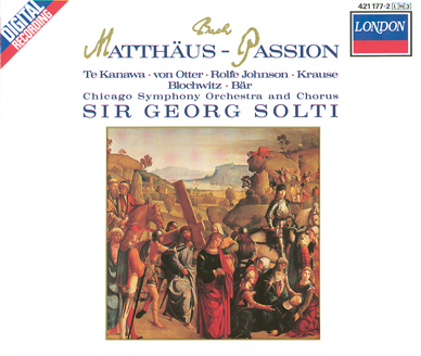 Saint Matthew's Passion CD cover from the Chicago Symphony 1987