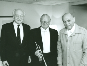 Composer, soloist, and conductor backstage, following the premiere.