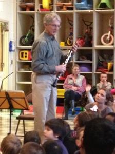 J. Lawrie Bloom describes his clarinet to Stock kids