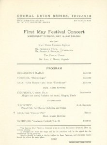 First concert of the 1913 Ann Arbor May Festival on May 14