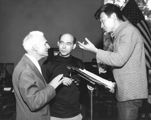 For the United States premiere of Martinon's Cello Concerto on July 31, 1965, former principal cello János Starker returned as soloist at the Ravinia Festival. Shown here during a rehearsal are the composer, soloist, and conductor, Ravinia music director Seiji Ozawa.