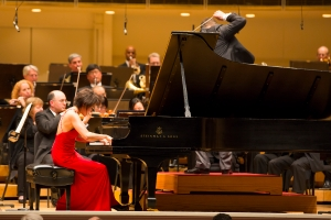 Yuja Wang as soloist in Prokofiev's Third Piano Concerto with the Chicago Symphony Orchestra on April 3, 2013. Sakari Oramo conducts. (Todd Rosenberg photo)