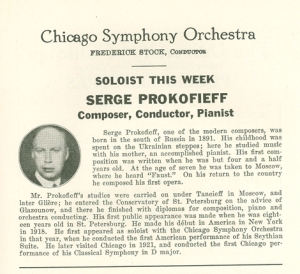Program book biography from February and March 1930 appearances