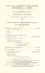 Prokofiev is soloist in his Second Piano Concerto, Eric DeLamarter conducts. February 28 and March 1, 1930