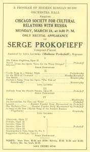 Prokofiev recital with his wife as soloist