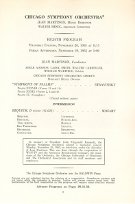 Revised program page for November 28 and 29, 1963