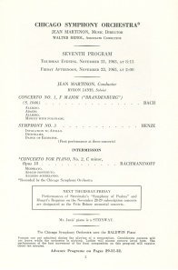Program page for November 21 and 22, 1963, announcing scheduled memorial for Fritz Reiner the following week