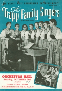 Tear-off flyer for the Trapp Family Singers' November 23, 1946, concert at Orchestra Hall (front)