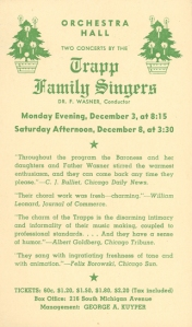 Postcard advertisement for the Trapp Family Singers' December 1945 appearances