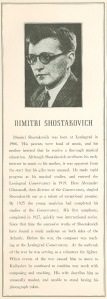 Dmitri Shostakovich's program book biography