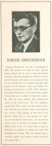 Dmitri Shostakovich's program book biography
