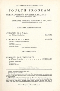 Program page for the Chicago Symphony Orchestra's first performances of Mahler's First Symphony