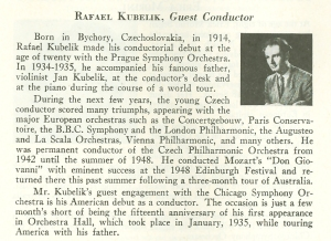 November 1949 program book biography