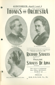 Program book advance advertisement for Strauss's guest conducting engagement