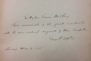 Inscription from editor George P. Upton to publisher Ogden Trevor McClurg
