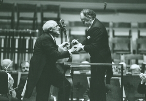 Mstislav Rostropovich and Lorin Maazel, following their performance of the first movement of Dvořák's Cello Concerto at the Centennial Gala on October 6, 1990