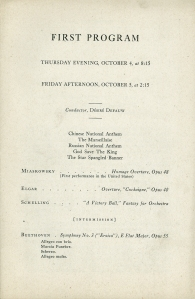 Program page from the first concert of the fifty-fifth season on October 4 and 5, 1945—the first downtown CSO concerts following the end of World War II—at which music director Désiré Defauw conducted the national anthems of the Allied countries: China, France, the Soviet Union, the United Kingdom, and the United States.