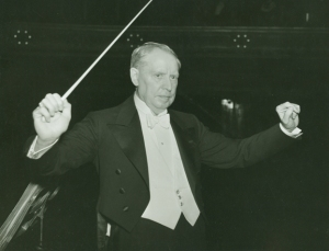 Frederick Stock—the CSO's second music director from 1905 until 1942—on the podium in Orchestra Hall in the 1930s.