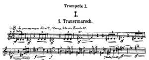 The opening bars of the first trumpet part of Mahler's Fifth