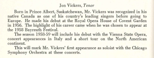 October 1958 program biography for Jon Vickers