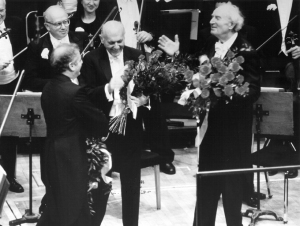 Barenboim, Solti, and Kubelík onstage at the end of the concert