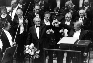 Boulez and Daniel Barenboim acknowledge applause following a performance of Bartók's First Piano Concerto on April 1, 1995 (Cheri Eisenberg photo)