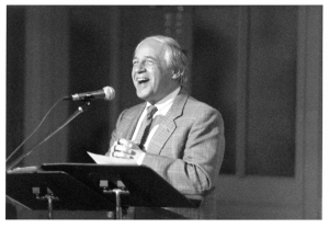Boulez speaking at a reception celebrating his seventieth birthday in Orchestra Hall's Grainger Ballroom on March 30, 1995 (Cheri Eisenberg photo)