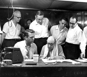 CSO cello Robert Smith, principal clarinet Clark Brody, principal harp Edward Druzinsky, and assistant concertmaster Victor Aitay look on as Columbia producer John McClure and Igor Stravinsky review the Orpheus score.