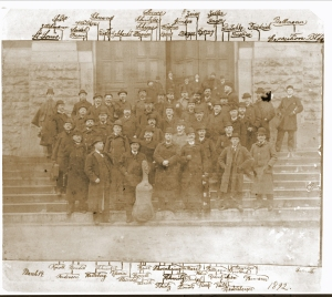 The first known image of the Chicago Orchestra on the steps of the Saint Louis Exposition Hall on March 14, 1892