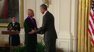 Shirley receiving the medal from President Obama on September 9, 2015 (image retrieved from this site)