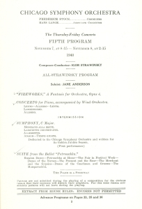 Stravinsky program page