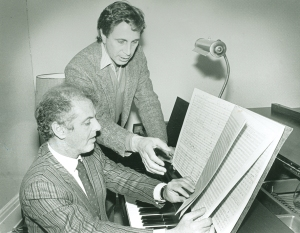 Daniel Barenboim and John Corigliano review the score to Symphony no. 1 (Terry's photo)