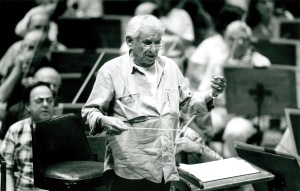 Leonard Bernstein onstage with the Orchestra in June 1988 (Jim Steere photo)