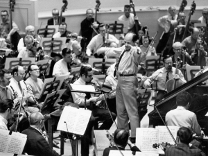 Pierre Boulez and Daniel Barenboim in rehearsal with the Chicago Symphony Orchestra in February 1969