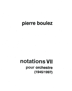 Detail of title page for Boulez's Notations VII