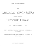 Chicago Orchestra, October 16 and 17, 1891