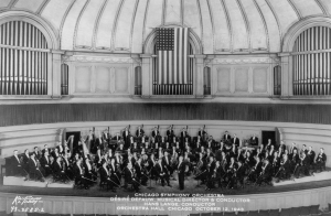 Music director Désiré Defauw and the Orchestra onstage on October 12, 1943