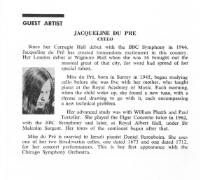 Jacqueline du Pré's program biography in February 1969