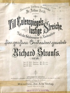 Title page of Theodore Thomas's score for Strauss's Till Eulenspiegel's Merry Pranks