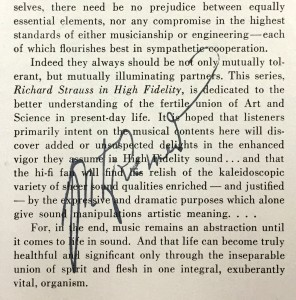 Fritz Reiner's autograph on a copy of the original album jacket's liner notes