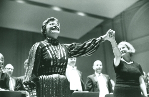 Margaret Hillis and Doreen Rao (director of the Glen Ellyn Children's Chorus) receive applause following the October 31, 1977, performance in Carnegie Hall (Robert M. Lightfoot III photo)