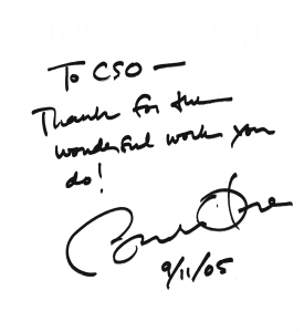 Obama's autograph on a copy of Copland's Lincoln Portrait