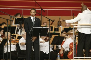 """CSO050911: Members of the Chicago Symphony Orchestra performing at Millennium Park September 11, 2005 in Chicago, Illinois, including the performance of Aaron Copeland's """"Lincoln Portrait"""" with narration by U.S. Senator Barack Obama (D, Illinois) ©Todd Rosenberg Photography 2005"""