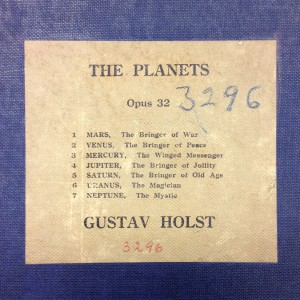 Detail of the cover of a manuscript (not in Holst's hand) of The Planets used by Frederick Stock for the U.S. premiere