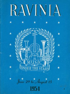 Ravinia Festival program book cover for June 29 through August 15, 1954