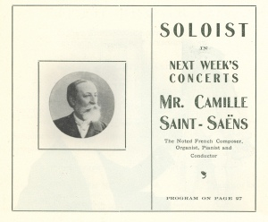 Advance notice in the program book for Saint-Saëns's debut performances