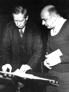 Frederick Stock and Arnold Schoenberg in Orchestra Hall, February 1934