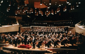 Pierre Boulez leads the Orchestra, Chorus, and soloists at the Berlin Philharmonie on April 1, 1999
