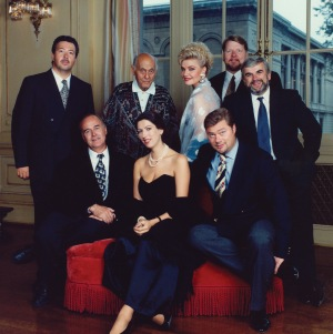 Sir Georg Solti and soloists (standing) Herbert Lippert, Karita Mattila, Ben Heppner, and Alan Opie; (seated) José van Dam, Iris Vermillion, and René Pape (Jim Steere photo)